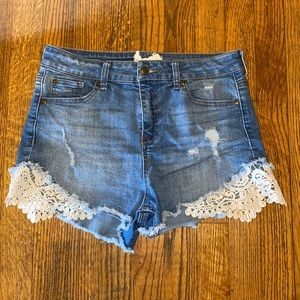 Altar'd State High Waisted Lace Jean Shorts